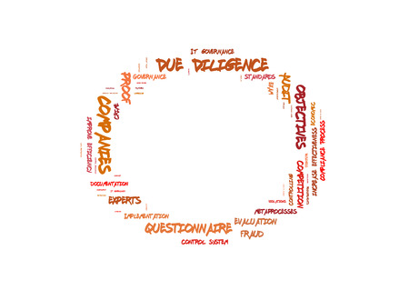 Due Diligence word cloud shaped as a circle Stock Photo