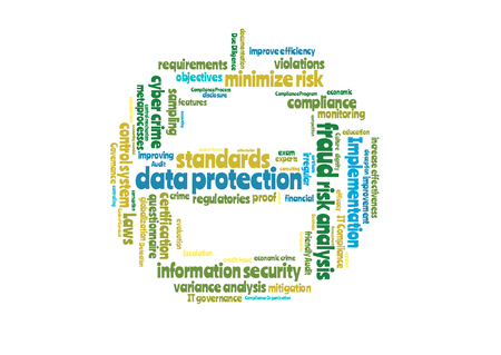 escalation: Data protection word cloud shaped as a stop sign