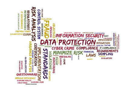 escalation: data protection word cloud shaped as a key