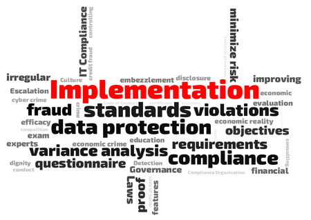 variance: data protection implementation  word cloud Stock Photo