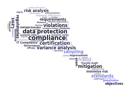 mitigation: compliance word cloud shaped as a key Stock Photo