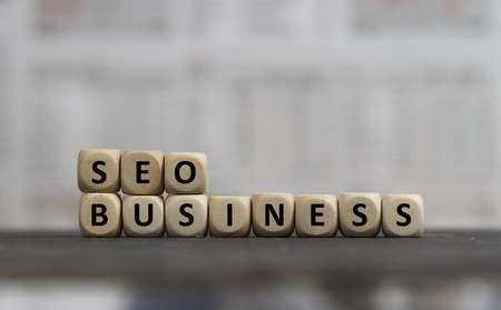 SEO Business word built with wooden letters Stock Photo - 64287789