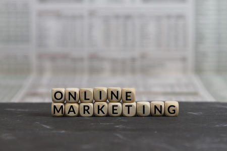marketing online: Online Marketing word built with wooden letters