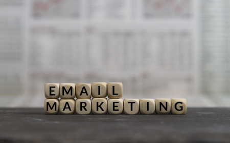 email Marketing word built with wooden letter cubes