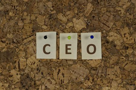 chief executive officer: chief executive officer shortcut word on cork pinboard