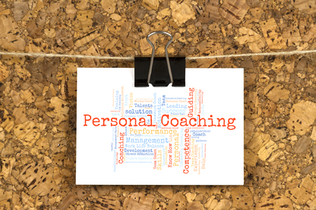 Project coaching word cloud on business card pinned up on cork personal coaching word cloud on business card pinned up on cork board photo reheart Images