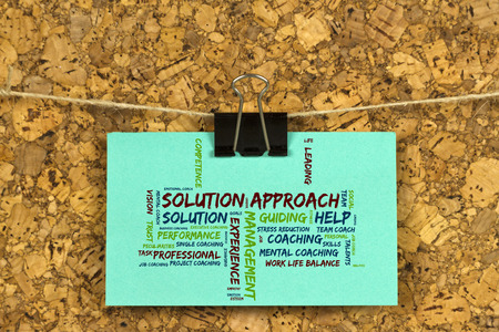 Solution approach word cloud on business card pinned up on cork solution approach word cloud on business card pinned up on cork board stock photo 64288598 reheart Choice Image