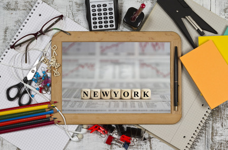 trillion: Financial place New York on a blackboard