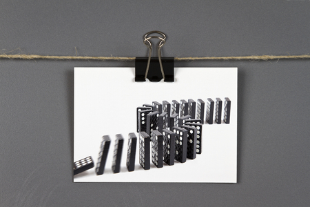 chain reaction: Domino effect Stock Photo