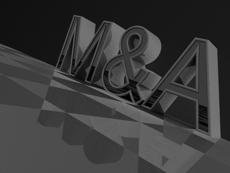 mergers: 3D M&A word on a checkered pattern Stock Photo
