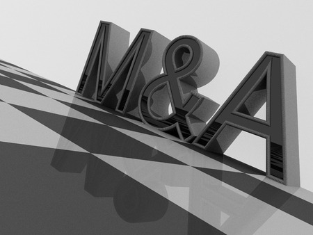 3D M&A word on a checkered pattern Stok Fotoğraf