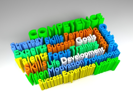 colorful 3D COMPETENCE word cloud