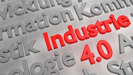 3D Industrie 4.0 word cloud Stock Photo
