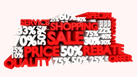 3D Sale word and percentage discount signs