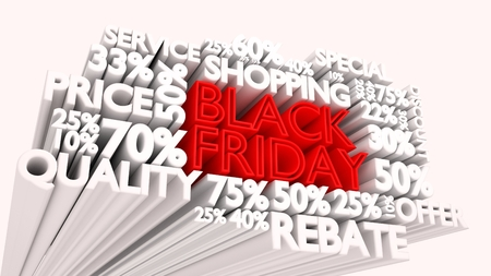 75 80: 3D Black Friday word and percentage discount signs Stock Photo