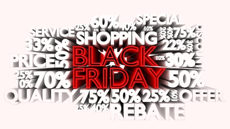 3D Black Friday word and percentage discount signs Stock Photo