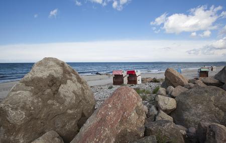 beachfront: view to the baltic sea beach with beach chair