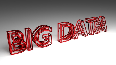 Big Data sign in red and glossy letters for an interesting header for big data storage and analysis with copy space. 3d Rendering - Illustration