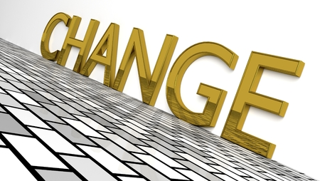 Change sign in glossy gold on a white background and a brike pattern floor for an interesting header forChange Management with copy space. 3d Rendering - Illustration Reklamní fotografie