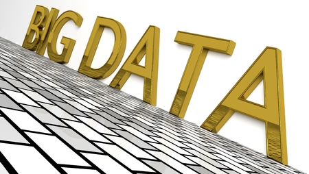 Big Data sign in glossy gold on a white background and a brike pattern floor for big data storage and analysis with copy space. 3d Rendering - Illustration