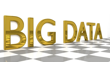 Big Data sign in glossy gold on a white background and a checkboard pattern floor for big data storage and analysis with copy space. 3d Rendering - Illustration
