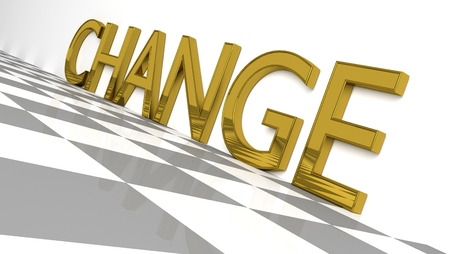 Change sign in glossy gold on a white background and a checkboard pattern floor for an interesting header forChange Management with copy space. 3d Rendering - Illustration Archivio Fotografico - 117489989