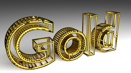 Gold sign in glossy gold on a white background for an interesting header for investment in golds with copy space. 3d Rendering - Illustration