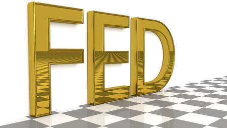FED sign in glossy gold on a white background and a checkerboard pattern floor for an interesting header for Monetary policy objectives and instruments with copy space. 3d Rendering - Illustration Stock Photo