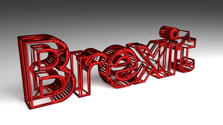 BREXIT sign in red and glossy letters for an interesting header for big data storage and analysis with copy space. 3d Rendering - Illustration Stock Photo