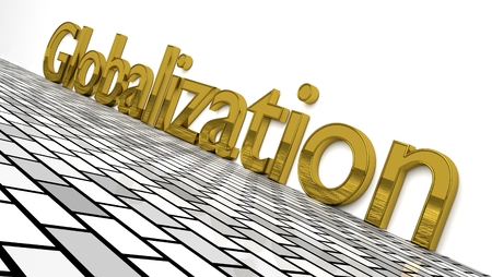 Globalization sign in gold and glossy letters on a white background and a brick pattern floor for an interesting header for global business concept with copy space. 3d, Illustration Imagens