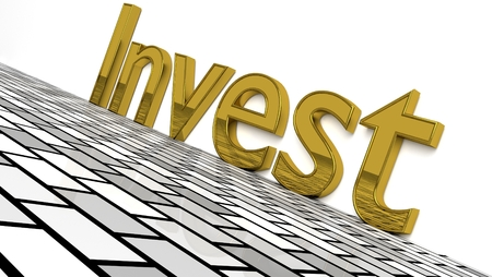 Invest sign in gold and glossy letters on a white background and a brick pattern floor for an interesting header for investment concept with copy space. 3d, Illustration