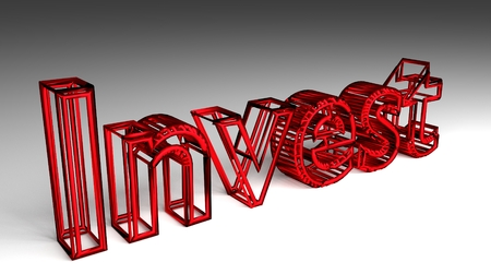 Invest sign in red and glossy letters on a white background for an interesting header for investment concept with copy space. 3d Rendering - Illustration