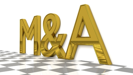M&A sign in gold and glossy letters on a white background and a checkerboard pattern floor for an interesting header for M&A concept with copy space. 3d, Illustration Stock Photo