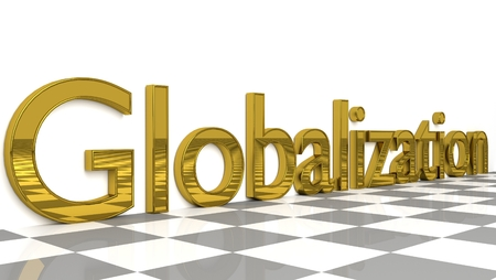 Globalization sign in gold and glossy letters on a white background and a checkerboard pattern floor for an interesting header for global business concept with copy space. 3d, Illustration