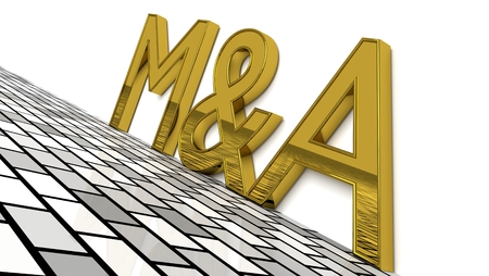 M&A sign in gold and glossy letters on a white background and a brick pattern floor for an interesting header for M&A concept with copy space. 3d, Illustration