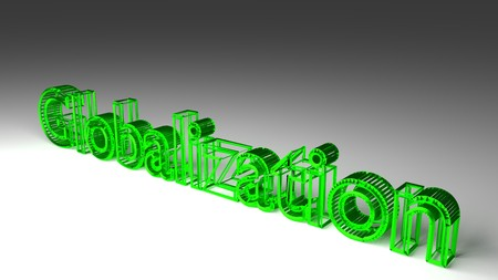 Globalization sign in green and glossy letters on a white background for an interesting header for global markets concept with copy space. 3d Rendering - Illustration