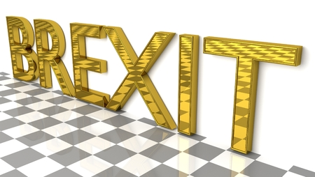 BREXIT sign in gold and glossy letters on a white background and a checkerboard pattern floor for an interesting header for Brexit news with copy space. 3d, Illustration