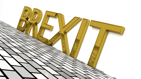 BREXIT sign in gold and glossy letters on a white background and a brick pattern floor for an interesting header for Brexit news with copy space. 3d, Illustration