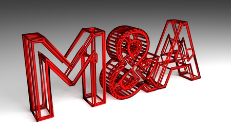 M&A sign in red and glossy letters on a white background for an interesting header for M&A concept with copy space. 3d Rendering - Illustration 写真素材