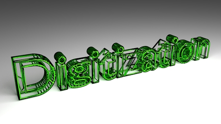 Digitization sign in green and glossy letters on a white background for an interesting header for digitalization concept with copy space. 3d Rendering - Illustration