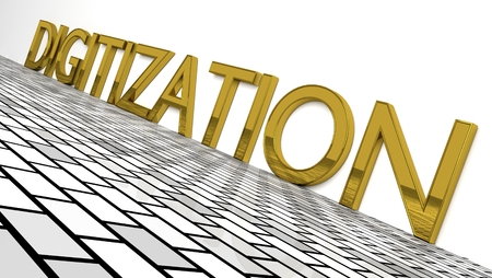 Digitization sign in gold and glossy letters on a white background and a brick pattern floor for an interesting header for Digitalization with copy space. Illustration