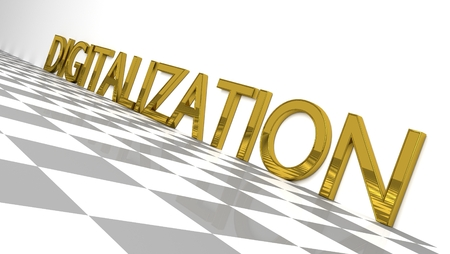 Digitalization sign in gold and glossy letters on a white background and a checkerboard pattern floor for an interesting header for Digitalization with copy space. Illustration Banco de Imagens