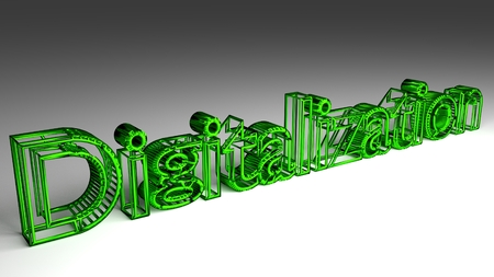 Digitalization sign in green and glossy letters on a white background for an interesting header for digitalization concept with copy space 3d, Illustration