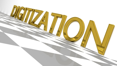 Digitization sign in gold and glossy letters on a white background and a checkerboard pattern floor for an interesting header for Digitalization with copy space. Illustration