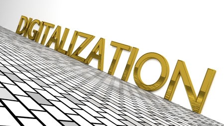 Digitization sign in gold and glossy letters on a white background. illustration Stock Photo