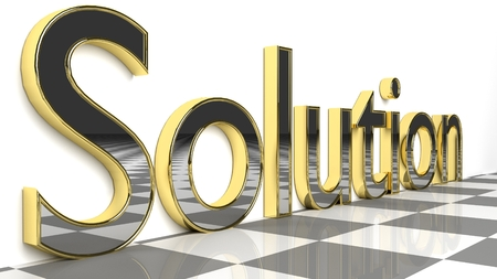 Solution sign in gold and glossy letters on a white background and a checkerboard pattern floor for an interesting header for problem-solving ability concept with copy space. 3d Rendering - Illustration