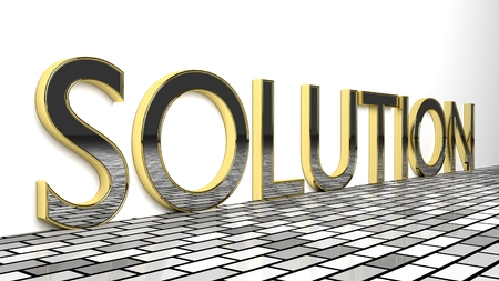 Solution sign in gold and glossy letters on a white background and a brick pattern floor for an interesting header for problem-solving ability concept with copy space. 3d Rendering - Illustration Stock Photo