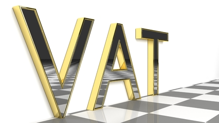 VAT sign in gold and glossy letters on a white background and a checkerboard pattern floor for an interesting header for tax concept with copy space. 3d Rendering - Illustration Standard-Bild