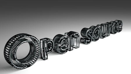 Open source sign in silver and glossy letters on a white background for an interesting header for software concept with copy space. 3d Rendering - Illustration