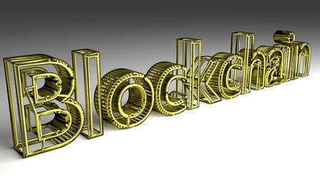 Blockchain sign in gold and glossy letters on a white background for an interesting header for IT concept with copy space. 3d Rendering - Illustration Foto de archivo - 117490573